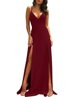 TOB Women's Sexy Sleeveless Spaghetti Strap Backless Split Cocktail Long Dress WineRed