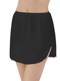 Vanity Fair Women's Nylon Single Slit Half Slip 11760, Midnight Black, Medium (14″ L ...