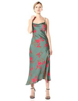ASTR the label Women's Gaia Sleeveless MIDI Slip Dress, Teal-Raspberry Floral, M