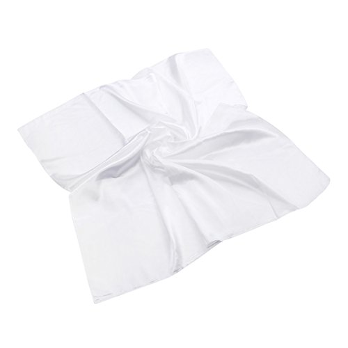 Elegant Large Silk Feel Solid Color Satin Square Scarf Wrap 36″, White