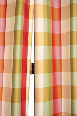 Beckford 3″ checkered faux silk taffeta lined rod pocketed window treatment curtain panel  ...