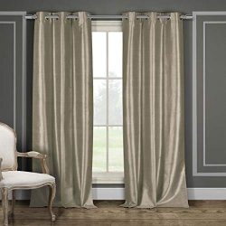 Duck River Textile Bali Faux Silk Grommet Top Window Curtain 2 Panel Drape, 38 X 84, Mocha
