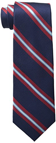Tommy Hilfiger Men's Oxford Ribb Stripe Tie, Navy, One Size