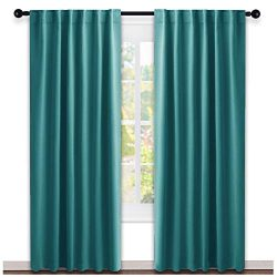 NICETOWN Living Room Blackout Draperies – (Sea Teal Color) W52 x L84, 2 Pieces, Room Darke ...