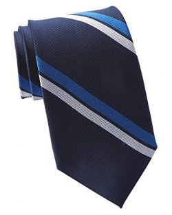 Tommy Hilfiger Men's Statement Stripe Silk Tie Navy Blue