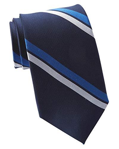 Tommy Hilfiger Men's Statement Stripe Silk Tie Navy Blue