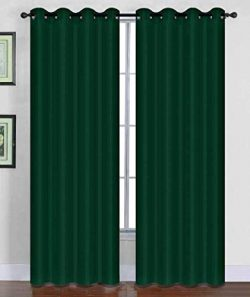 Sapphire Home (2 Panels Grommet Faux Silk Satin Window Curtain Panels 84″ Long, Insulated  ...