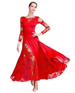 ZX Women's Ballroom Dance Dress Lace Sleeve Long Swing Skirt Professional Competition Mode ...