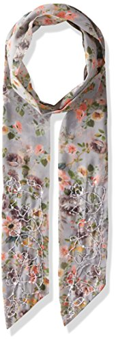 Steve Madden Women's Dolce Flora Long and Skinny Scarf, Grey, One Size