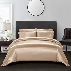 AiMay 3 Piece Duvet Cover Set Bedding Sets Luxury Rich Silk Satin Silky Super Soft Solid Color H ...