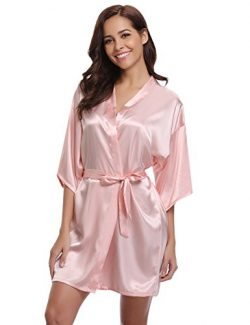 Women's Kimono Robes Satin Pure Colour Short Style with Oblique V-Neck Robe Pink