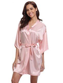 Women's Kimono Robes Satin Pure Colour Short Style with Oblique V-Neck Robe Pink