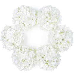 DuHouse Artificial Bigger Silk Hydrangea Flower Heads with Stem Fake White Hydrangea Flowers for ...