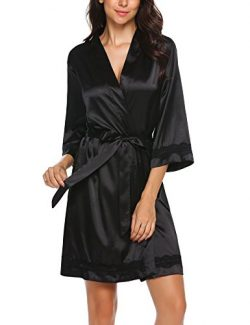 Ekouaer Women's Satin Kimono Robe Short Bridemaids Robe Lace Trim with 3/4 Sleeve(Black/XXL)