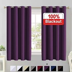 Flamingo P 100% Blackout Curtains 63 Length Thermal Insulated Energy Saving Lined Curtains Faux  ...