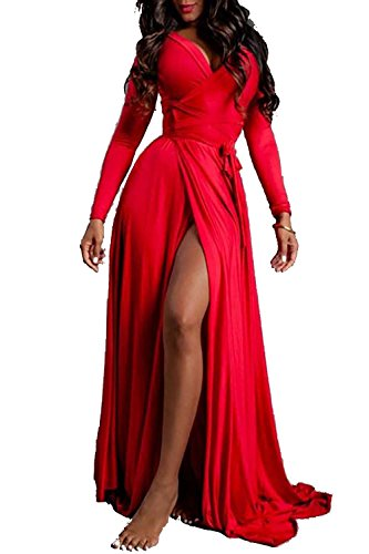 Vivicastle Women's Sexy Long Sleeve Tulip Wrap Slit Front Full Long Maxi Dress (Medium, Red)