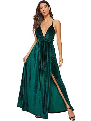 SheIn Women's Sexy Satin Deep V Neck Backless Maxi Party Evening Dress X-Small Green#2