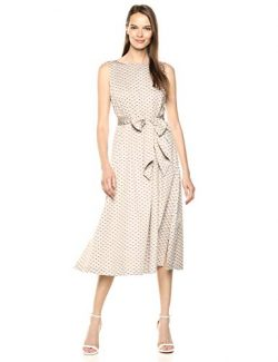 Anne Klein Women's MIDI Dress with Attached SASH, Oyster Shell Combo, L
