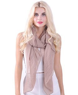 MissShorthair Womens Long Scarf in Solid Color Large Sheer Shawl Wraps for Evening(Light Coffee)