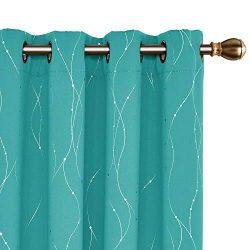 Deconovo Grommet Top Blackout Curtains Wave Line with Dots Foil Printed Light Blocking Window Dr ...