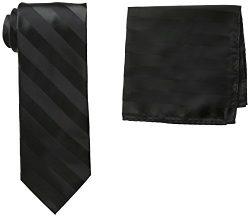 Stacy Adams Men's Solid Woven Formal Stripe Tie Set, Black, One Size