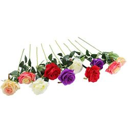 JUSTOYOU 10pcs Artificial Rose Silk Flower Blossom Bridal Bouquet for Home Wedding Decor (Mixed  ...