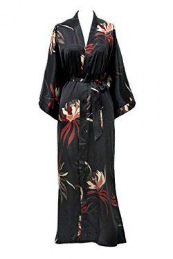 KIM+ONO Satin Kimono Robe Long – Hana – Black