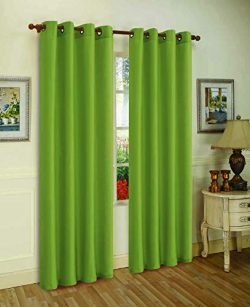 J&V TEXTILES 2 Panels Solid Grommet Faux Silk Window Curtain Drapes Treatment in 84″ L ...