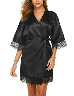 Avidlove Women's Lace Trim Kimono Robe Nightwear Satin Short Robe Black X-Large