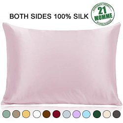 Ravmix Pillowcase Queen Size, 100% Pure Mulberry Silk Pillowcase for Hair and Skin with Hidden Z ...