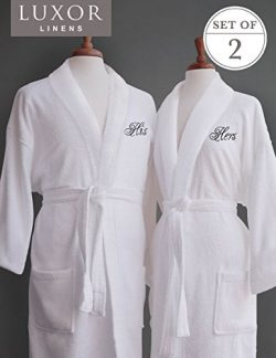 Luxor Linens – Terry Cloth Bathrobes – 100% Egyptian Cotton His & Her Bathrobe S ...