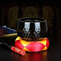 Singing Bowl,Tibetan Singing Bowl with Silk Cushion and Striker Black Buddhist Sound Bowl for Me ...