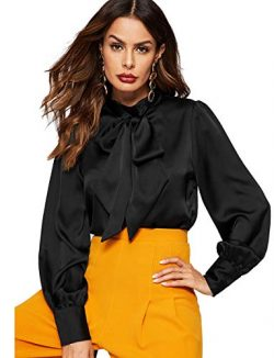 Romwe Women's Satin Bishop Sleeve Bow Tie Neck Casual Office Work Blouse Shirts Tops Black XL
