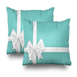 LALILO Set of 2 Throw Pillow Covers, White Bow Silk Ribbons Elegant Satin Bow Turquoise Blue Gif ...