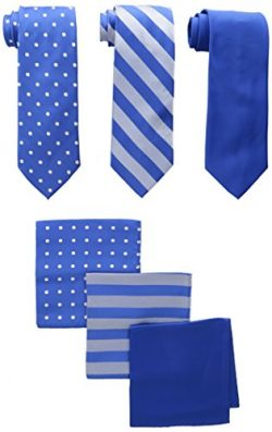 Stacy Adams Men's 3 Pack Satin Neckties Solid Striped Dots with Pocket Squares, Royal, One ...