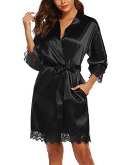 URRU Womens Satin Kimono Robe Short Bathrobe Sleepwear Solid Color with Pockets Black XXL