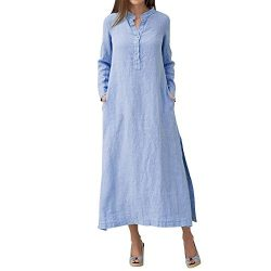 Plain Maxi Long Dress Women's Kaftan Cotton Long Sleeve Casaul Oversized Dress Blue