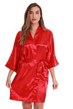 Just Love Womens Satin Solid Kimono Robe 6756-RED-S