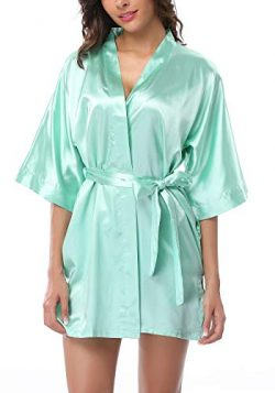 FADSHOW Women's Silk Kimono Robes Bathrobes Short Wedding Robes for Bridal Party,Light Gre ...