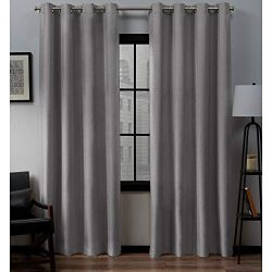 Exclusive Home Curtains Loha Linen Grommet Top Curtain Panel Pair, 52×84, Dove Grey