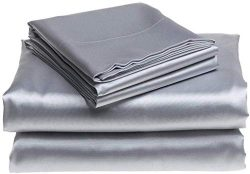 "Bedify Bedding 100% Pure Silk Satin Sheet Set 4pcs, Silk Fitted Sheet 15"" Deep Pocket,Silk ..."
