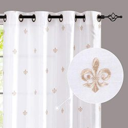 jinchan Faux Silk Flur De Lis Embroidered Grommet Top Curtains for Bedroom Embroidery Curtain fo ...