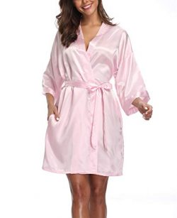 VOGTORY Women's Pure Color Robes Short Kimono Bathrobes Silky Sleepwear with Side Pockets Pink