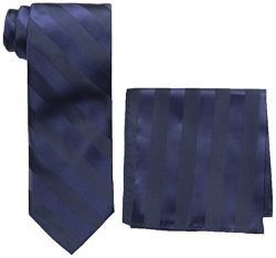 Stacy Adams Men's Solid Woven Formal Stripe Tie Set, Navy, One Size