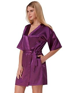 Women Silk Short Robe Maid of Honor Purple Soft Nightwear Purple Size S ZE51-2