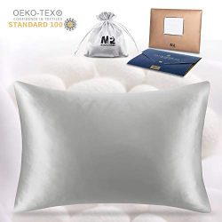 MP2 100% Mulberry Silk Pillowcase for Hair and Skin Standard Size 25 Momme 1 Pack with Satin Pou ...