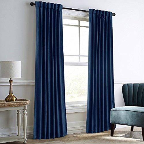 Dreaming Casa Royal Blue Velvet Room Darkening Curtains for Living Room,Thermal Insulated Rod Po ...