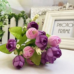 SFviwv 1 PCS 15 Heads Artificial Rose Silk Flower Blossom Bridal Bouquet for Home Wedding Decor