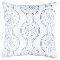 Homey COZY Embroidery White Velvet Throw Pillow Cover, Merry Christmas Series Snowflake Drop Lux ...