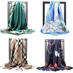 NUWEERIR 4pc Mixed Womens Large Square Scarf Set Silk Feeling Satin Hair Wrapping 35×35 inc ...